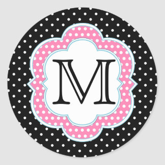 Polka Dots Monogram Pink Blue Black Classic Round Sticker