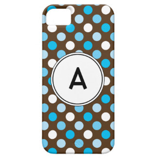 Polka Dots monogram Turquoise Blue Brown. iPhone 5 iPhone SE/5/5s Case