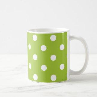 polka dots  mug in bright green and white