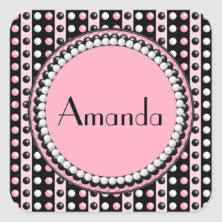 Polka dots n Stripes Square Stickers