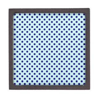 Polka Dots - Navy Blue on Pale Blue Premium Trinket Boxes