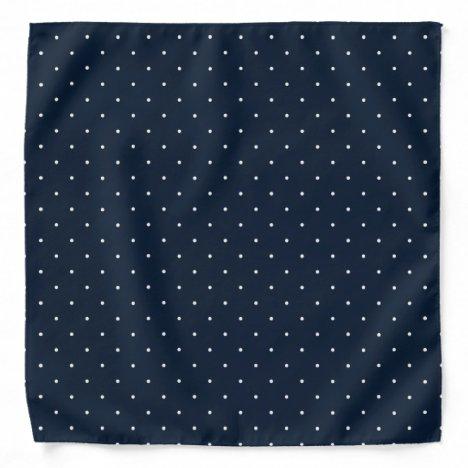 Polka Dots Navy Blue White Classic Dotted Pattern Bandana
