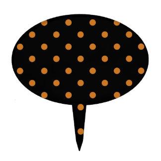 Polka Dots - Ochre on Black Cake Toppers