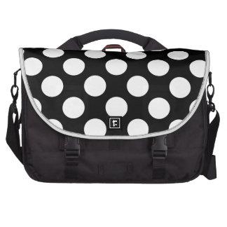 Polka Dots On A Black Background Bag For Laptop