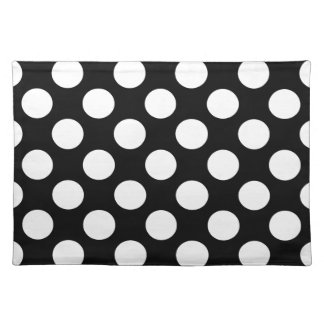 Polka Dots On A Black Background Placemat