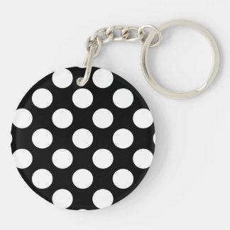 Polka Dots on Black Double-Sided Round Acrylic Keychain