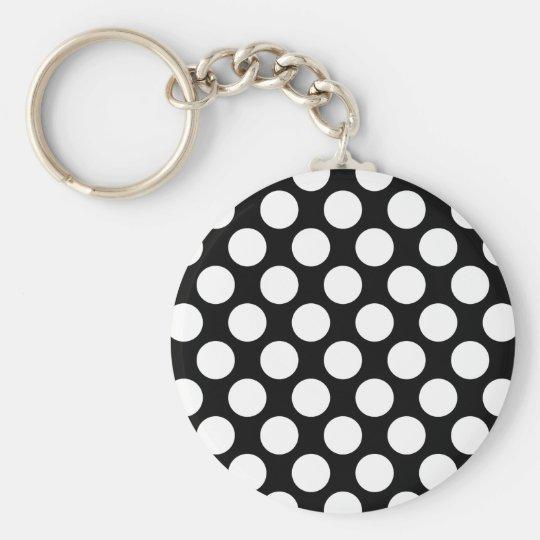 Polka Dots on Black Keychain
