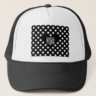 Polka Dots on Black with A Heart Trucker Hat