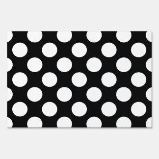 Polka Dots on Black Lawn Signs