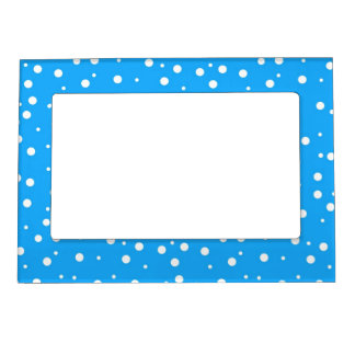 Polka Dots on Blue Background Magnetic Frame