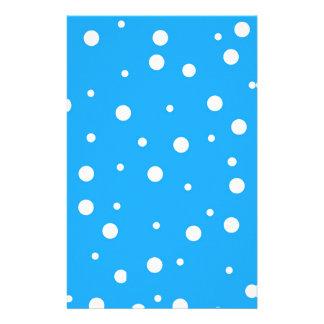 Polka Dots on Blue Background Stationery