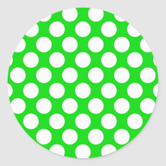 Polka Dots on Green Classic Round Sticker