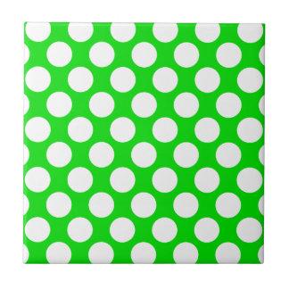 Polka Dots on Green Ceramic Tile