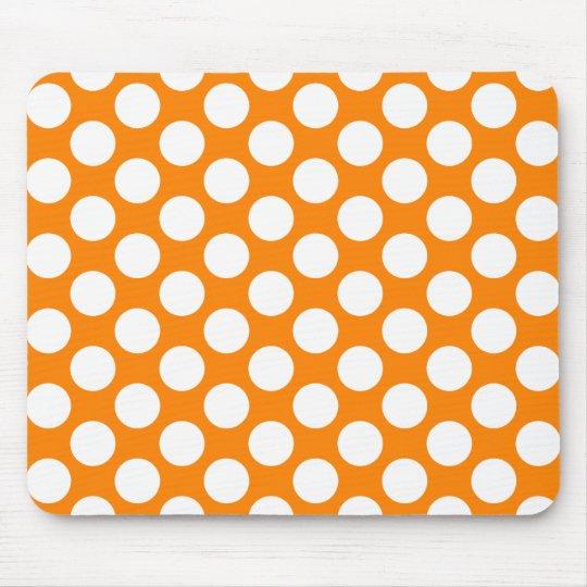 Polka Dots on Orange Mouse Pad