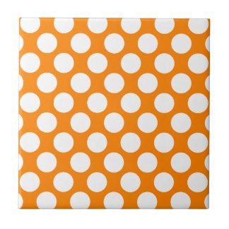 Polka Dots on Orange Ceramic Tiles