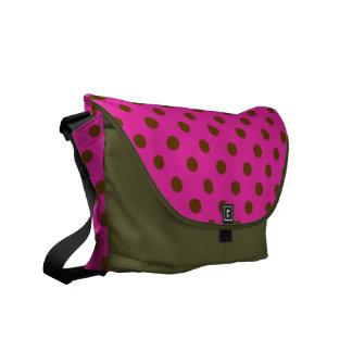 Polka dots on pink background bag. courier bag