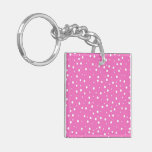 Polka Dots on Pink Background Square Acrylic Key Chains
