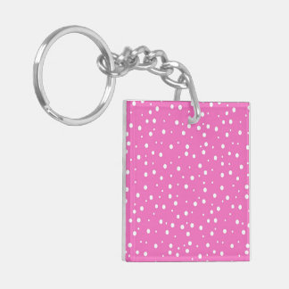 Polka Dots on Pink Background Keychain
