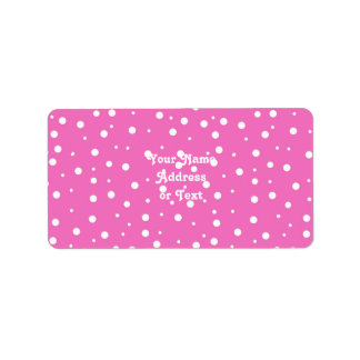 Polka Dots on Pink Background Label