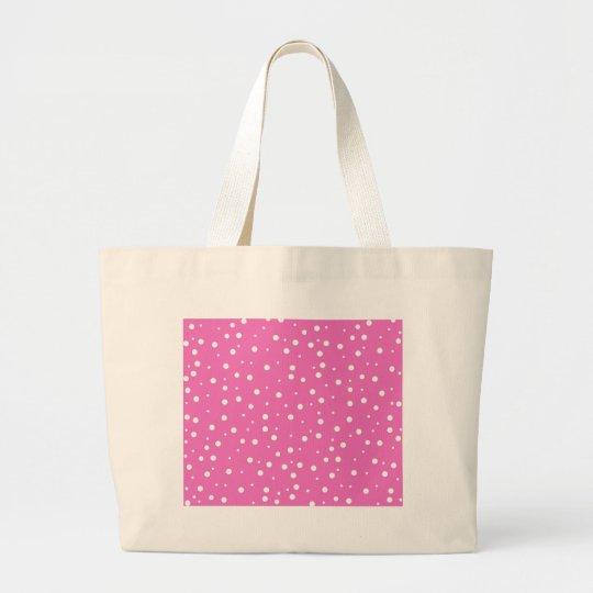 Polka Dots on Pink Background Large Tote Bag
