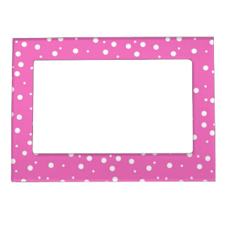 Polka Dots on Pink Background Magnetic Frame