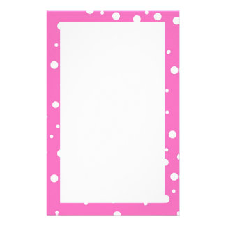 Polka Dots on Pink Background Stationery