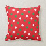 Polka Dots on Red Christmas Throw Cushion Throw Pillows