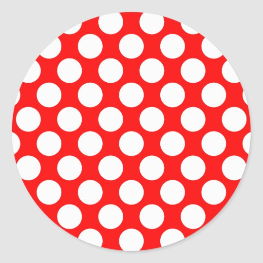 Polka Dots on Red Classic Round Sticker