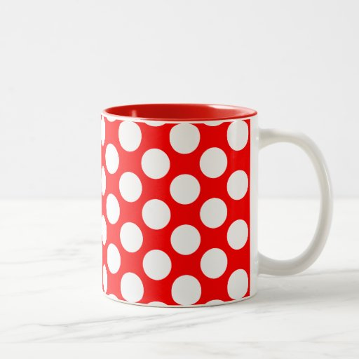 Polka Dots on Red Mug