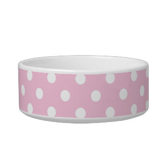Polka dots on sweet pink background cat bowl
