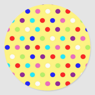 Polka Dots on Yellow Background Classic Round Sticker