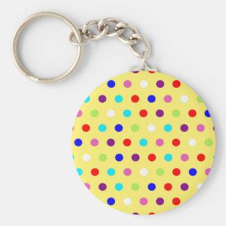 Polka Dots on Yellow Background Basic Round Button Keychain