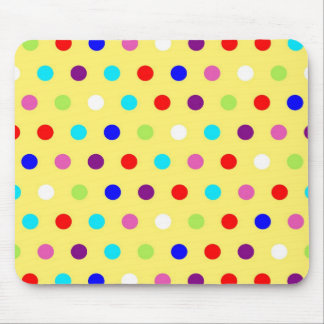 Polka Dots on Yellow Background Mouse Pad