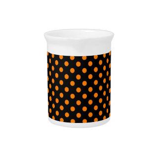 Polka Dots - Orange on Black Beverage Pitcher