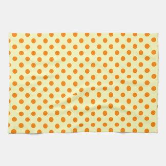 Polka Dots - Orange on Electric Yellow Kitchen Towel