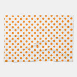 Polka Dots - Orange on White Hand Towels