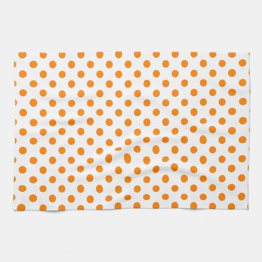 Polka Dots Orange On White Hand Towels Zazzle