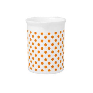 Polka Dots - Orange on White Pitcher