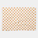 Polka Dots - Orange on White Towel
