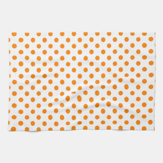 Polka Dots - Orange on White Towel