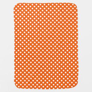 Polka Dots Orange/White Reversible Stroller Blanket