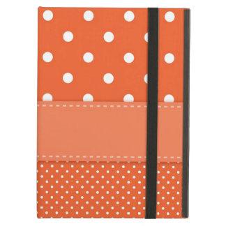 Polka dots orange, white summery retro ipad case