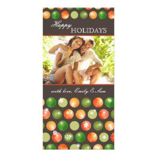 Polka Dots Ornaments Couple Holiday Photo Card