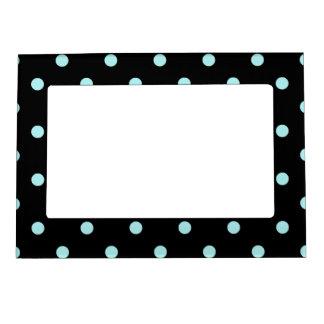 Polka Dots - Pale Blue on Black Photo Frame Magnet