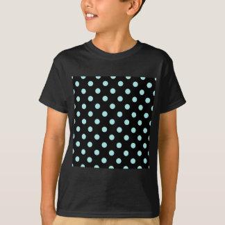 Polka Dots - Pale Blue on Black T-Shirt