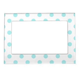 Polka Dots - Pale Blue on White Magnetic Photo Frame