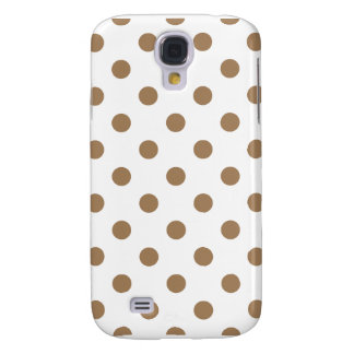 Polka Dots - Pale Brown on White Samsung S4 Case
