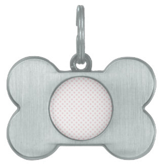 Polka Dots - Pale Pink on White Pet ID Tags