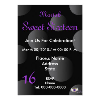 Polka Dots Paradise Sweet Sixteen- Customize Personalized Invitation