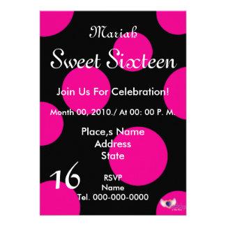 Polka Dots Paradise Sweet Sixteen- Customize Custom Announcement